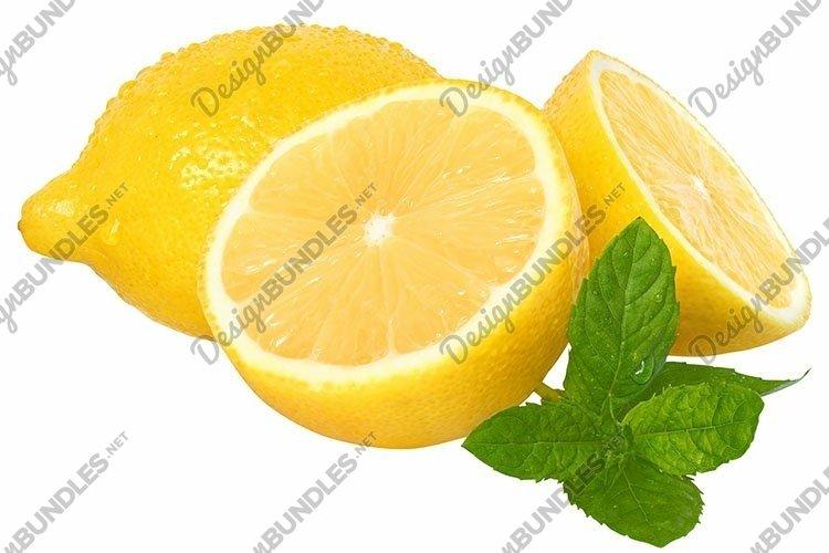 Stock Photo - Sliced lemon with mint leaves