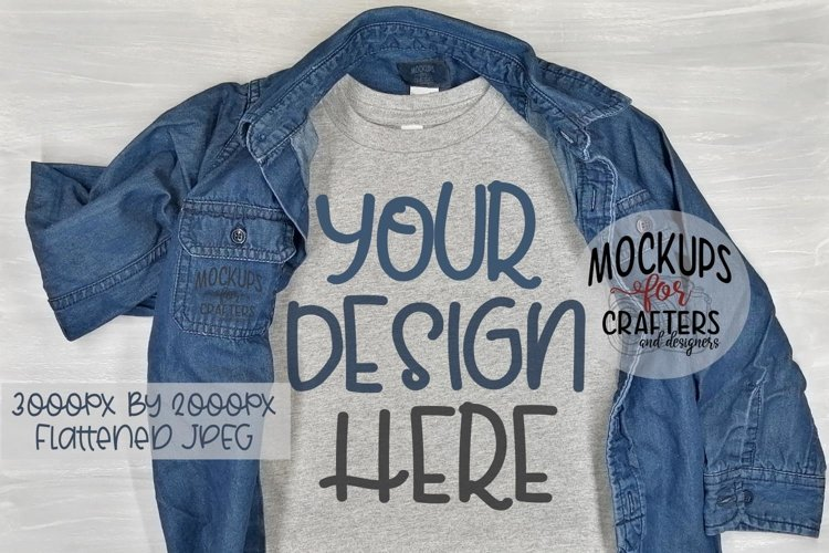 Grey T-Shirt with jean shirt, MOCK-UP example image 1