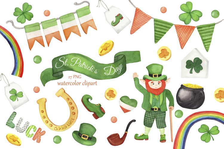 St. Patricks Day watercolor clipart, Irish clipart, lucky