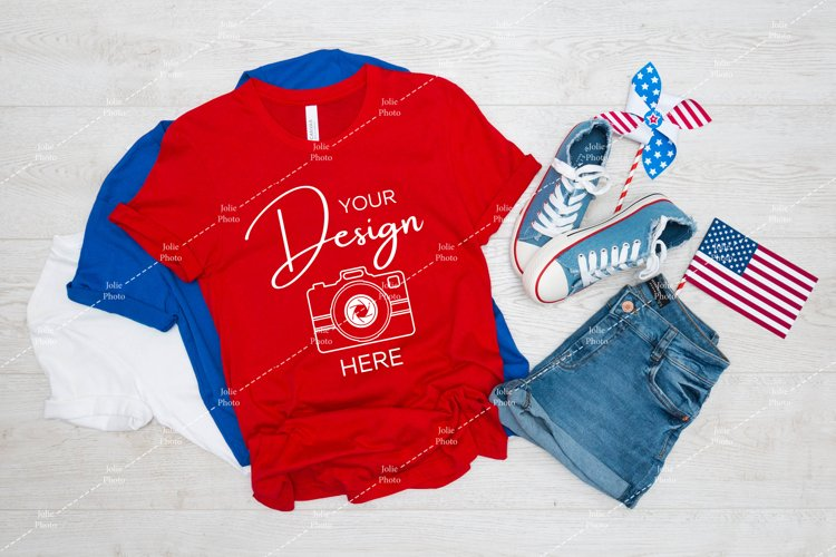 4th of July Mockup Bella Canvas 3001 Red T-shirt