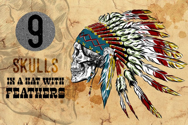 skulls in a hat with feathers.