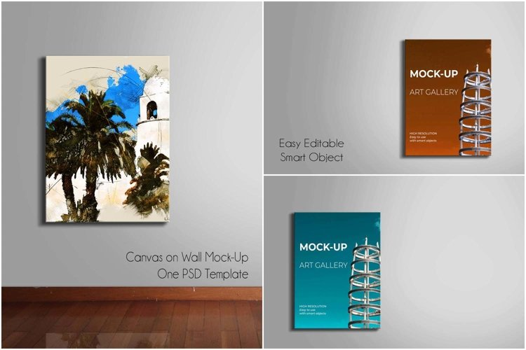 Canvas on Wall Mock-Up | One PSD Template example 4