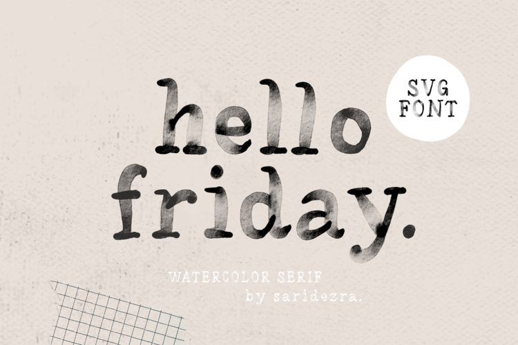 Hello Friday - Watercolor SVG Font example image 1