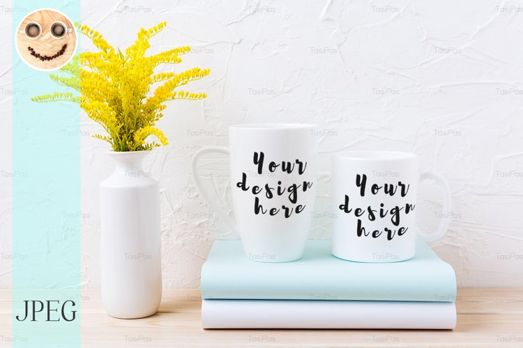 Two white coffee and cappuccino mug mockup with ornamental example image 1