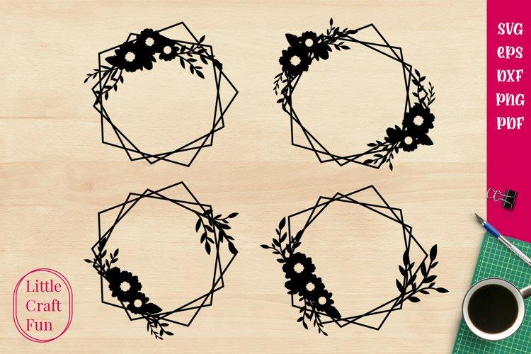 Geometric Cute Flowers Svg , Geometric Svg example image 1