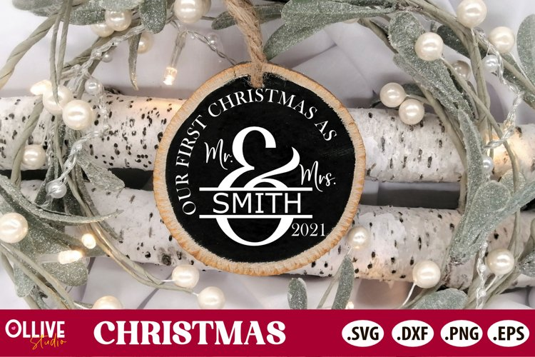 Our First Christmas SVG   Couple Christmas Ornament SVG example image 1