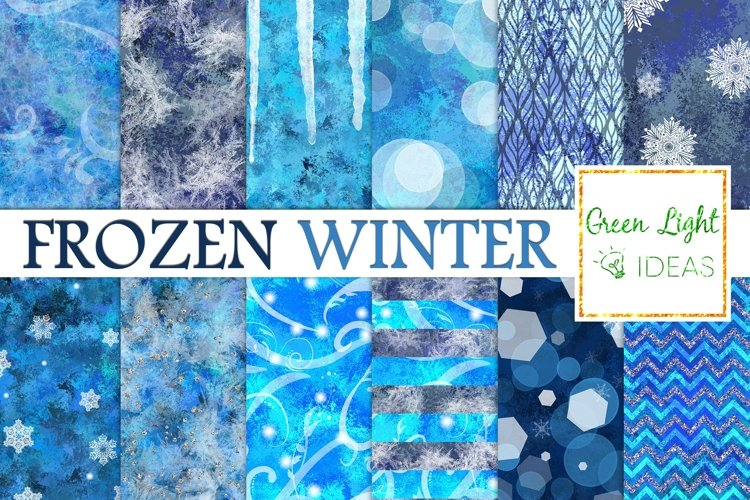 Frozen Winter Digital Papers, Snow Backgrounds, Icy Textures