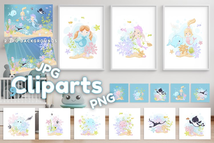 ClipArts and backgrounds -Cute cartoon marine inhabitants