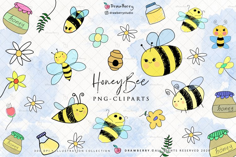 Honey Bee Cliparts PNG example image 1