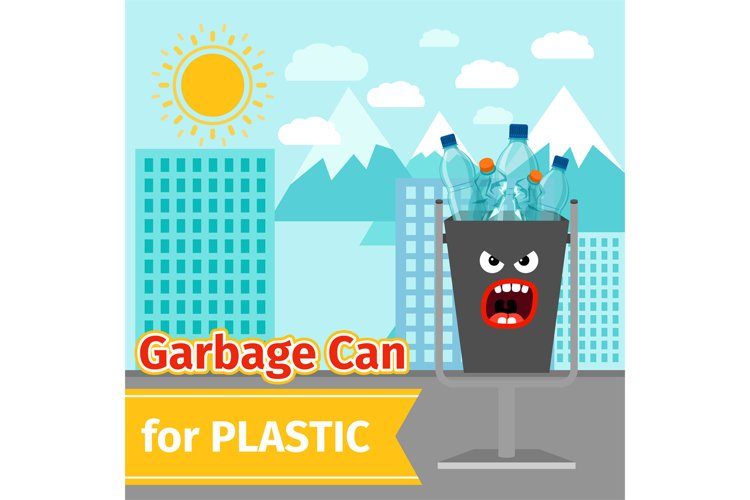 Plastic trash can with monster face example image 1