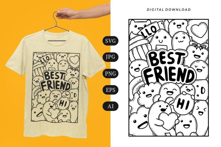 Best Friend Doodle T-shirt | SVG example image 1