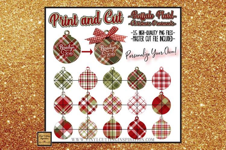 15 Buffalo Plaid Christmas Ornaments Print and Cut Svg Bundl example image 1