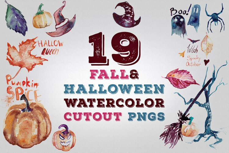 19 Fall and Halloween Watercolor Transparent Graphics Pngs example image 1