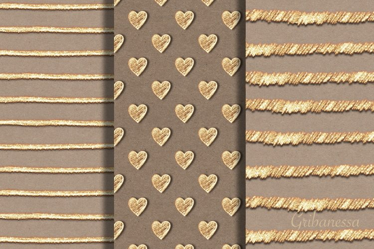 3 abstract gold seamless patterns example image 1