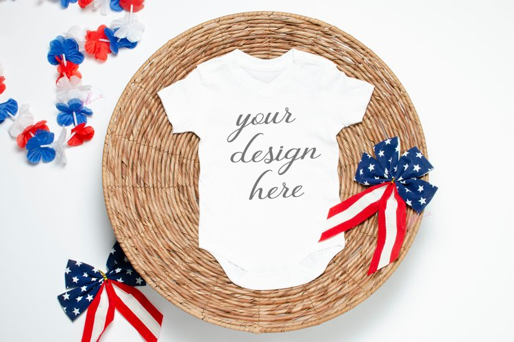 July 4th Baby Bodysuit Mockup White, 4th of July Baby Mockup
