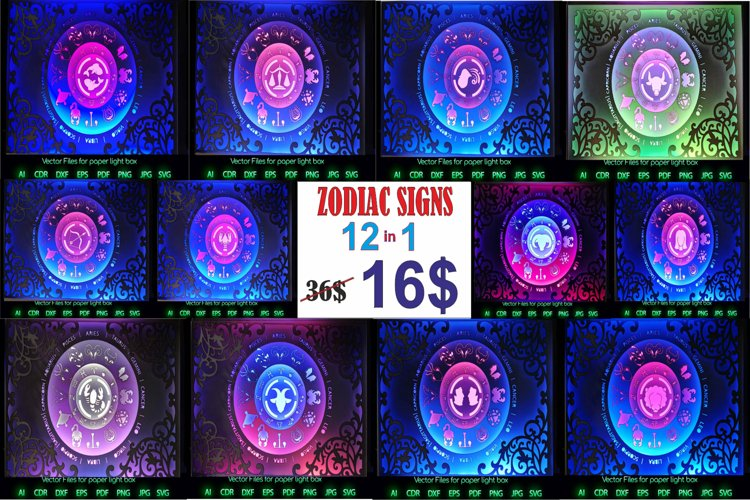 Zodiac sign 12-1 Light box PNG SVG DXF CDR template Papercut example image 1