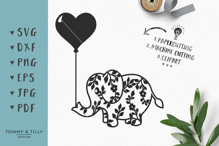 Flower Elephant with Heart Balloon - SVG DXF PNG EPS JPG PDF example image 1