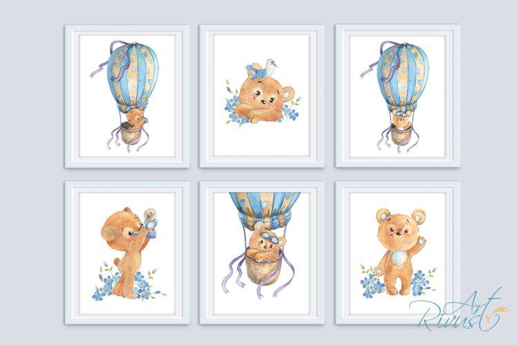 Digital Nursery Prints. Teddy Bear Hot Air Balloon Posters example image 1