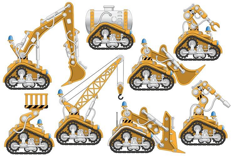 Industrial robots set.