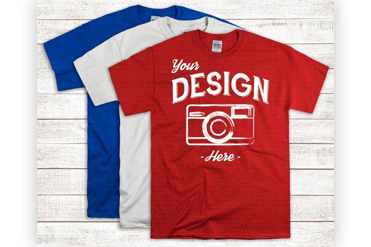Three T Shirt Mockup Red White And Blue Unisex Shirts example image 1