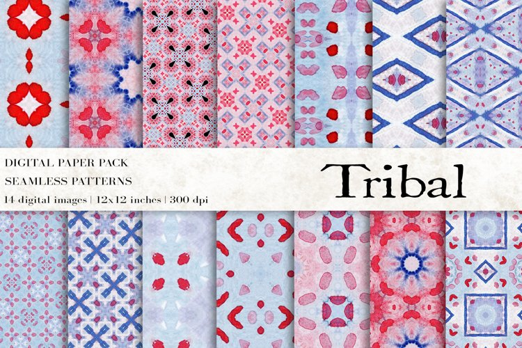 Tribal Digital Papers, Aztec Seamless Patterns