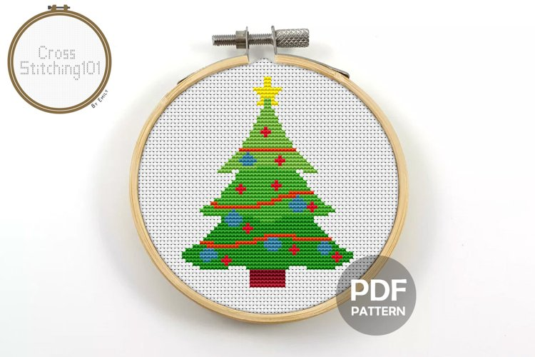 Christmas Tree Cross Stitch Pattern - Instant Download PDF example image 1