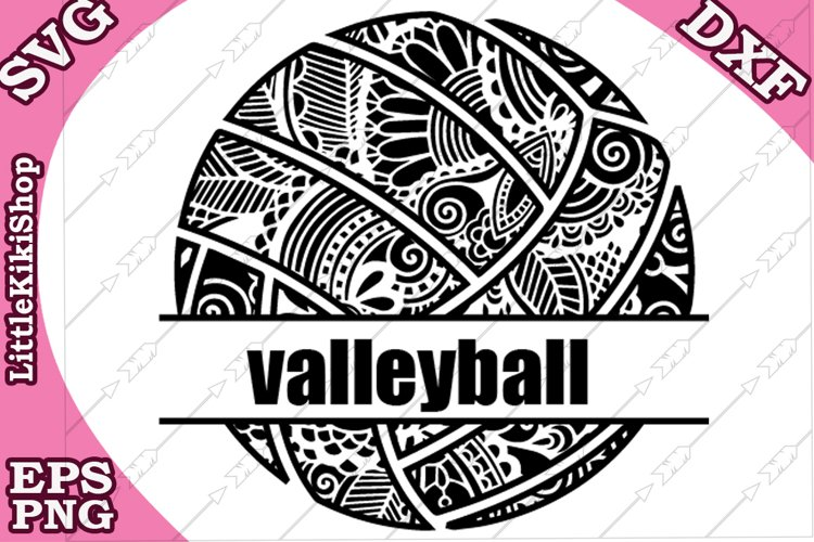 Volleyball Monogram Svg,Mandala Volleyball Svg,Zentangle Svg example image 1