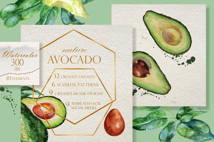 Juicy avocado. Watercolor clip-art.