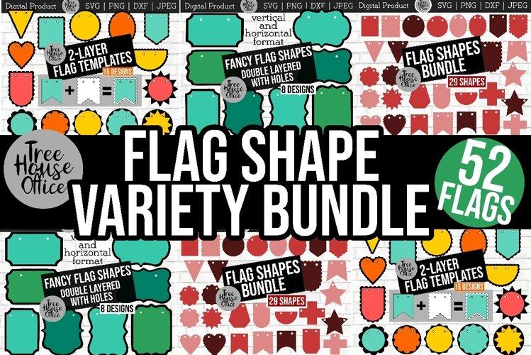 Flag Shapes Bundle Scalloped Garland Banner Template SVG DXF example image 1