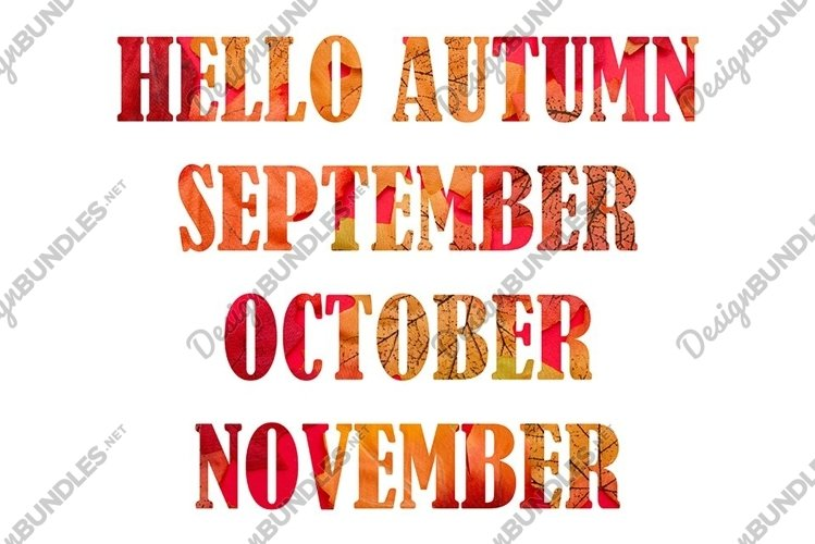 HELLO AUTUMN, greeting text on colorful fall leaves example image 1