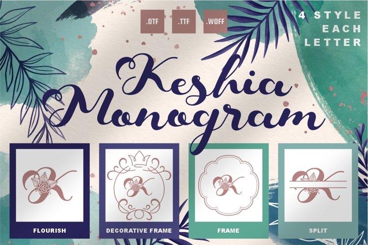 Keshia Monogram Font - 4 Style Monogram example image 1
