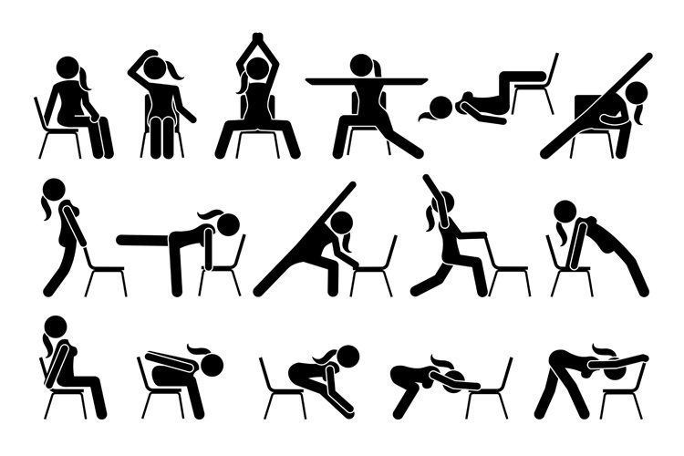 Chair Yoga Exercises Stretches Poses Postures Stick Figures