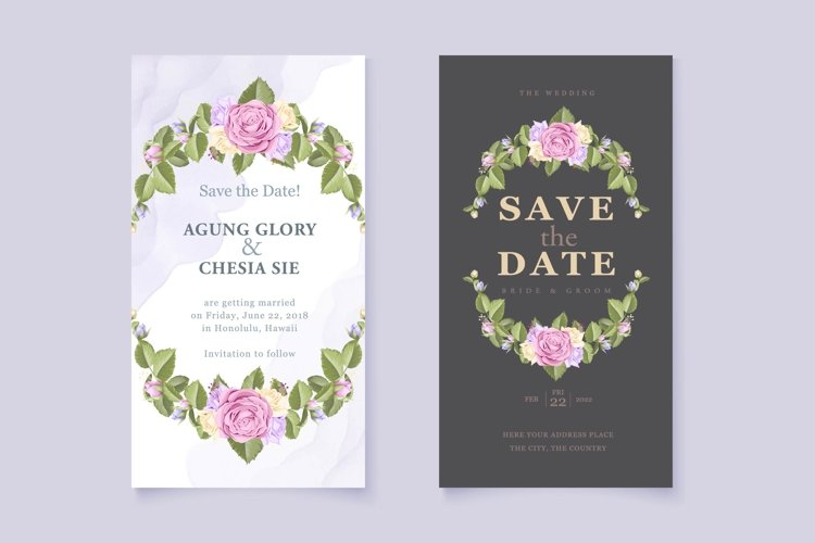 wedding invitation card with beautifull rose and leaves