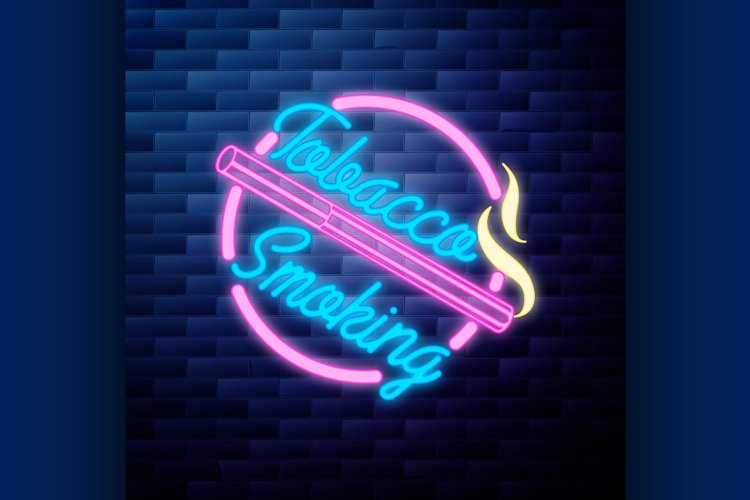 Vintage smoking emblem glowing neon sign example image 1