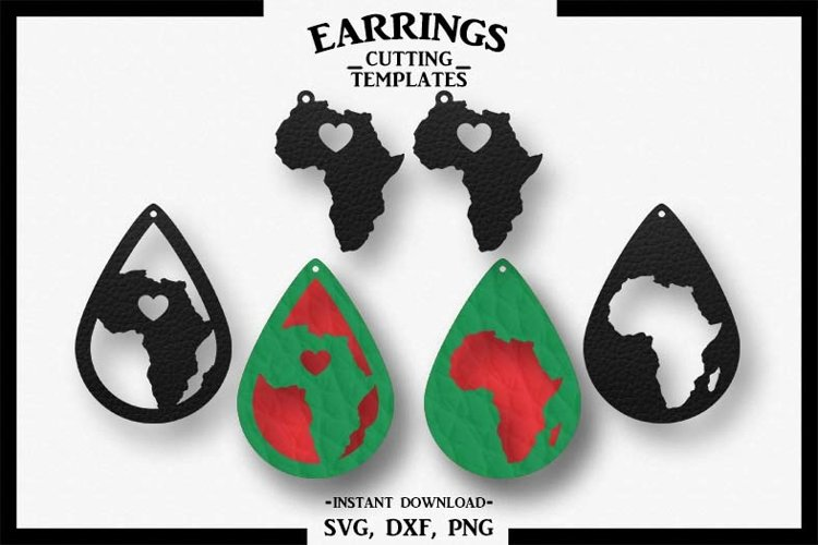 Africa Earrings, Silhouette, Cricut, Cut File, SVG DXF PNG example image 1
