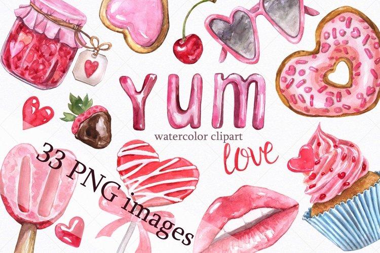 Watercolor Valentines Day Desserts Hearts Love Clipart