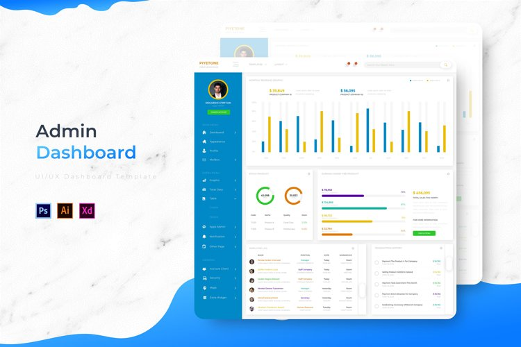 Piyetone Dashboard | Admin Template example image 1