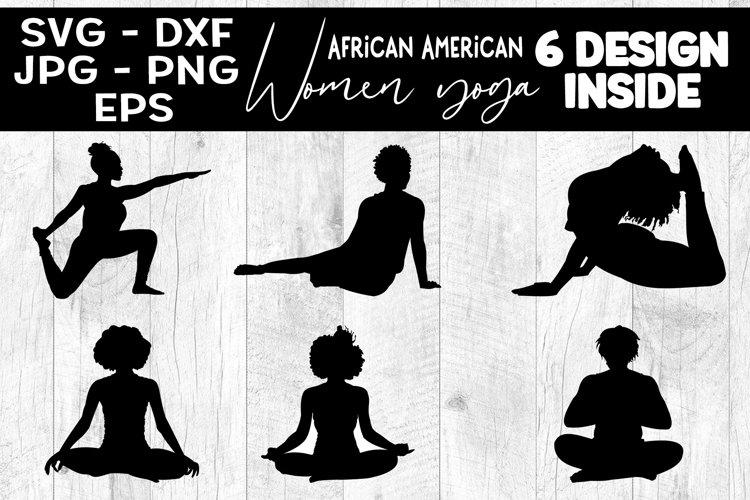 African American Woman Yoga SVG Yoga Silhouette Bundle