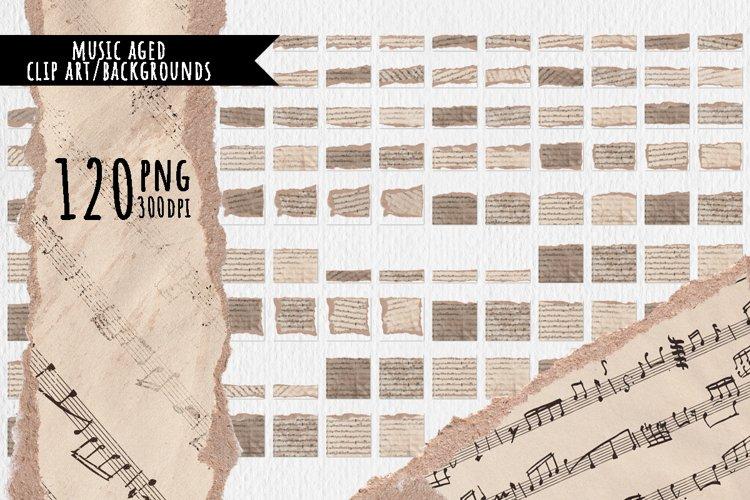 Aged music sublimation backgrounds, clip art
