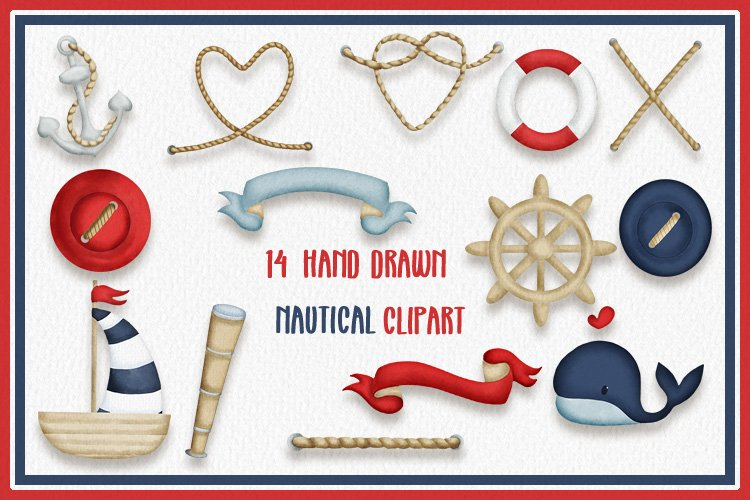 Nautical handdrawn watercolor clipart sublimation or crafts