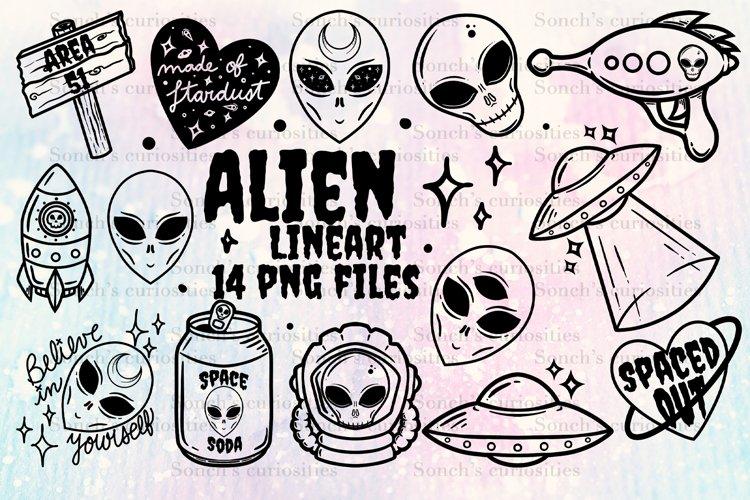 ALIENS lineart - 14 spookyPNG files