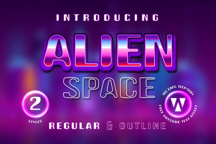 Alien Space - Regular and outline modern font example image 1