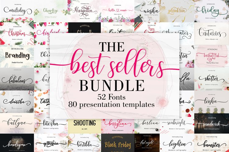 The Best Sellers Bundle | 52 Fonts Only $5 example image 1