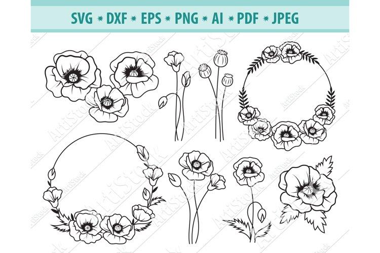 Poppy Flower SVG, Poppy wreath svg, Wildflower Png, Eps, Dxf