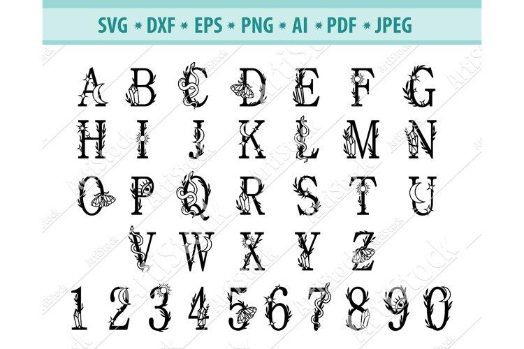 Mystical alphabet Svg, Halloween font Svg, Png, Eps, Dxf