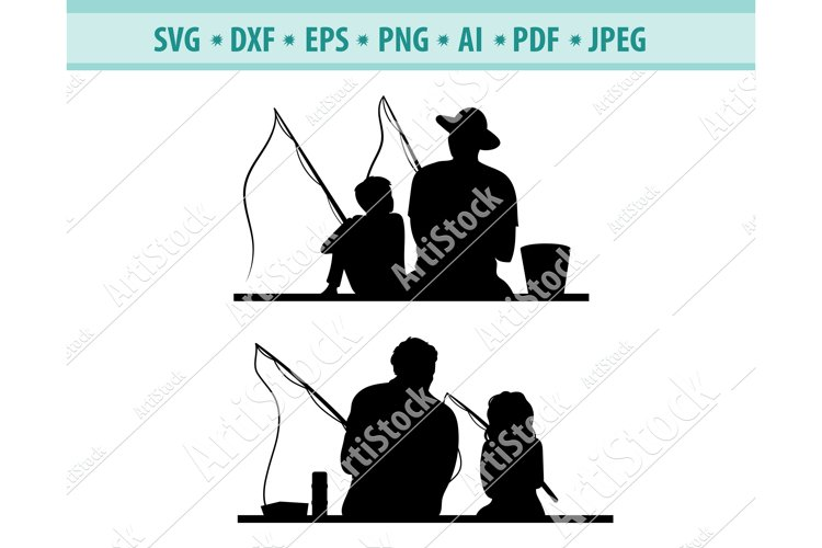 Fishing Father and Son Svg, Daughter Fishing Png, Eps, Dxf