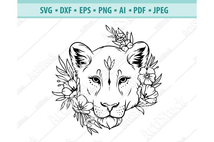 Lioness head SVG, Lion Flower Svg, Wild cat Png, Eps, Dxf