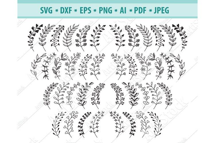 Leaf Svg file, Branches svg, Laurel Wreath ng, Eps, Dxf
