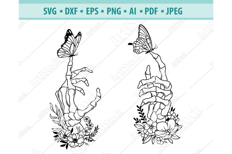 Floral skeleton hand Svg, Hand with butterfly Dxf, Eps, Png