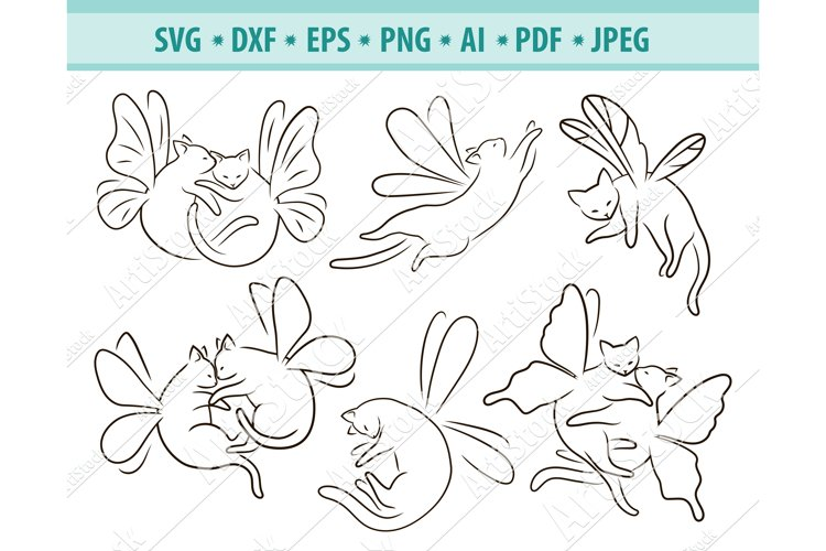 Fairy cat Svg, Cat butterfly Svg, Fairy animal Png, Eps, Dxf
